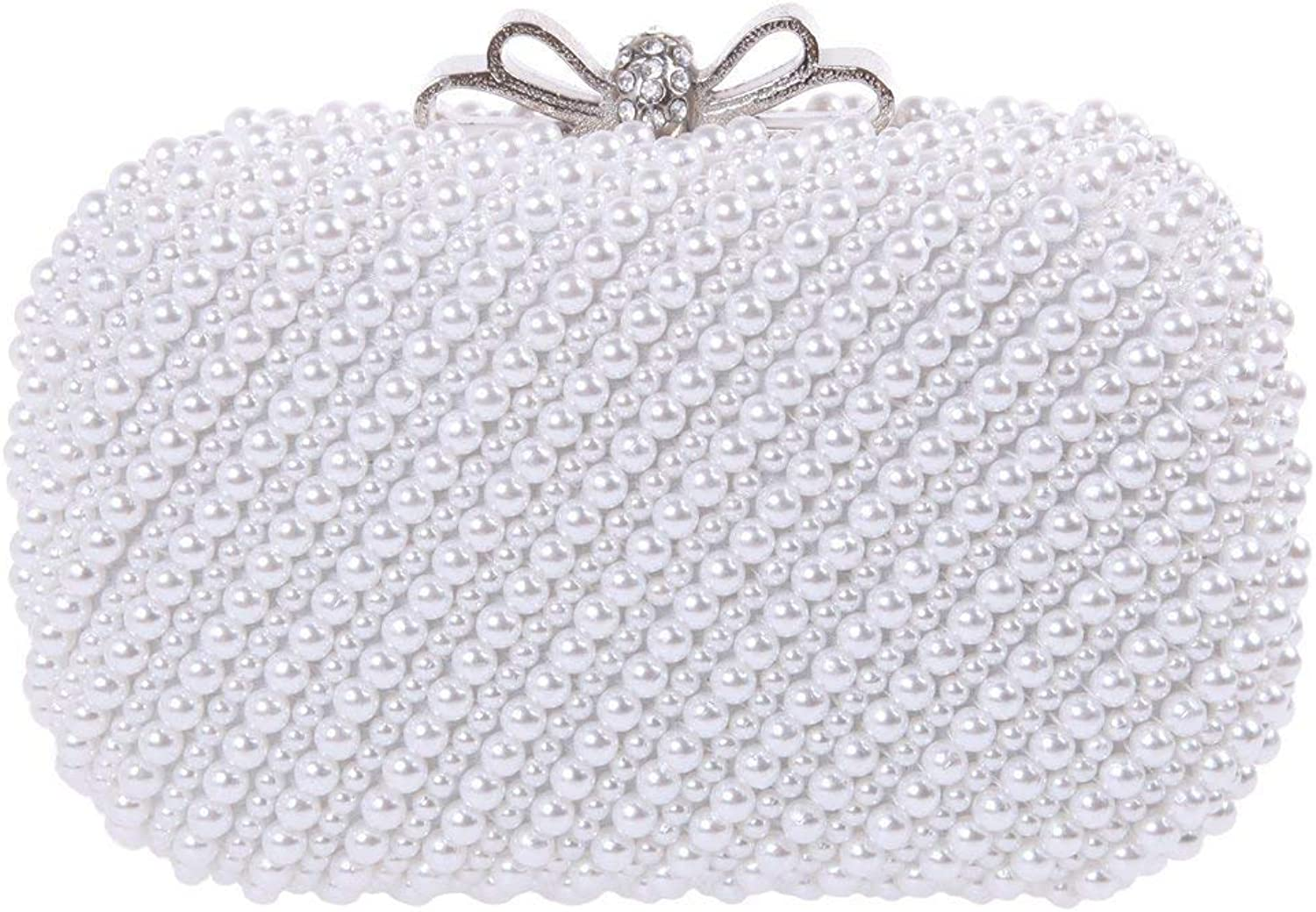 Santimon Women Clutch Pearl Bling Bow Clutch Purse Wedding Evening Bags with Removable Strap