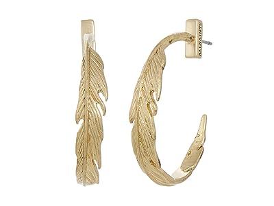 AllSaints Feather Hoop Earrings (Warm Brass) Earring