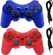 PS3 Controllers for Playstation 3 Dualshock Six-axis, Wireless Bluetooth Remote Gaming Gamepad Joystick Includes USB Cable (Red and Blue,Pack of 2)