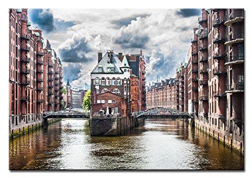 Berger Designs - Bild auf Leinwand als Kunstdruck in verschiedenen Größen. Wandbild Hamburg Speicherstadt. Beste Qualität aus Deutschland (90 x 70 cm (BxH))