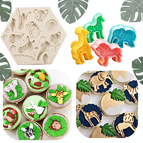 JeVenis Set of 5 Jungle Safari Animal Cake Mold Jungle Safari Animal Cupcake Decoration Jungle Animals Cookie Cutters Jungle Safari Animal Cake Decoration for Jungle Safari Animal Party Baby Shower