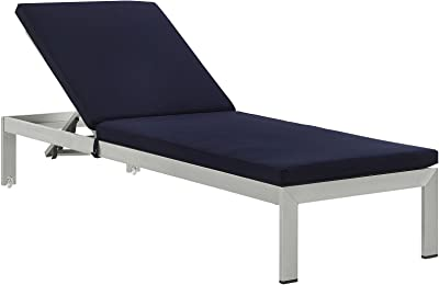 Contemporary Modern Outdoor Patio Balcony Lounge Chair Chaise Navy Blue Silver Fabric Aluminum