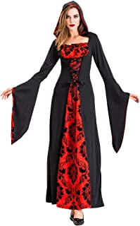 iLOOSKR Halloween Hooded Dress Women Cosplay Devil Costumes Witch Vintage Middle Ages Dress