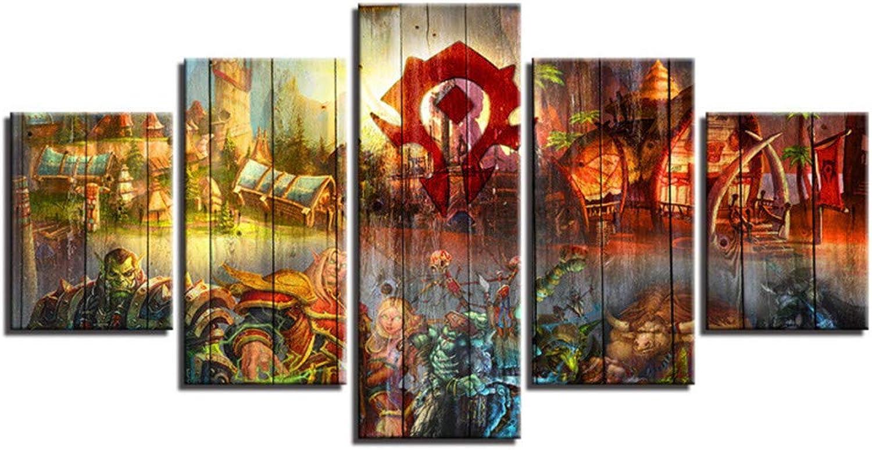 Loiazh - Bilder Vlies Leinwandbild 5 Teilig Kunstdruck modern Wandbilder Wandbilder Wandbilder Wanddekoration Design Wand Bild - Frameless - World of Warcraft 100x40 80x40 60x40(cm) B07NVFTVD4 2dec8e