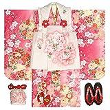 七五三 着物 被布セット 3歳 女の子 マユミ 濃淡ピンク地 被布淡いピンク 刺繍桜 足袋付き