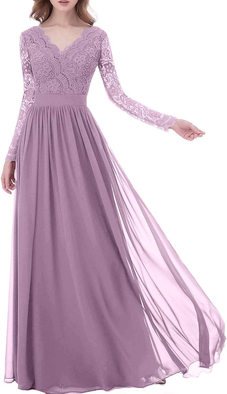 Elegant VNeck Lace Formal Evening Gowns Long Sleeves Bridesmaid Dresses