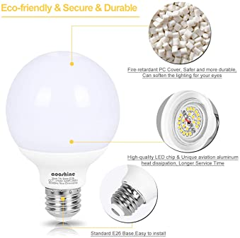 LED Vanity Light Globe Bulb, Aooshine 70W Incandescent G25 LED Bulb Equivalent, Soft Warm White 2700K 7 Watts, Makeup...