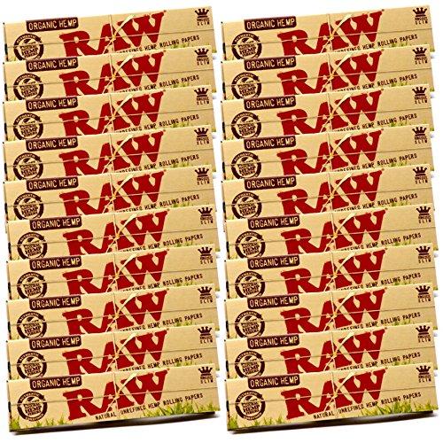 20 x Books Raw Organic Natural Hemp King Size Slim Rolling Paper Cigarette Skin