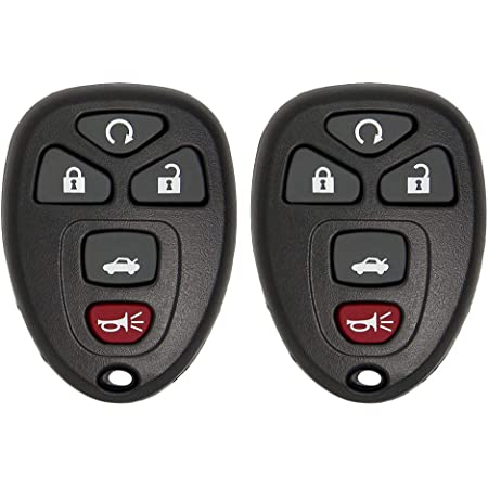 Keyless2Go Replacement for Keyless Entry Car Key Vehicles That Use 5 Button OUC60270 OUC60221, Self-programming - 2 Pack