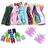 Lance Home 30pcs Accesorios de Vestir para Las 29cm Muñecas, 10pcs Verano Faldas Vestidos + 10 Pares de Zapatos + 10pcs Perchas, Estilo Aleatorio