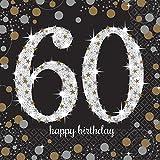 Amscan - Chispeante 60Cumpleaños Celebración, 16Servilletas, color negro y dorado...