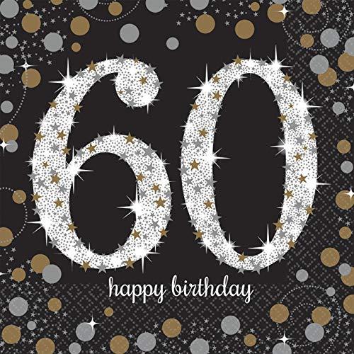 Amscan 511547 16 servetten 60.verjaardag Sparkling Celebration, zwart/zilver