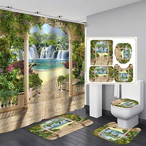 NICEME Cortina de Ducha de 4 Piezas Cortina de baño Resistente al Agua Cortina de baño Lavable Tela de poliéster Cortinas de Ducha 3D Bosque Verde para baño (Color : E, Size : 70.8 * 78.7inch)