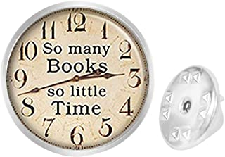 WAZZIT Round Metal Tie Tack Hat Lapel Pin Brooches Time Books Banquet Badge Enamel Pins Trendy Accessory Jacket T-Shirt