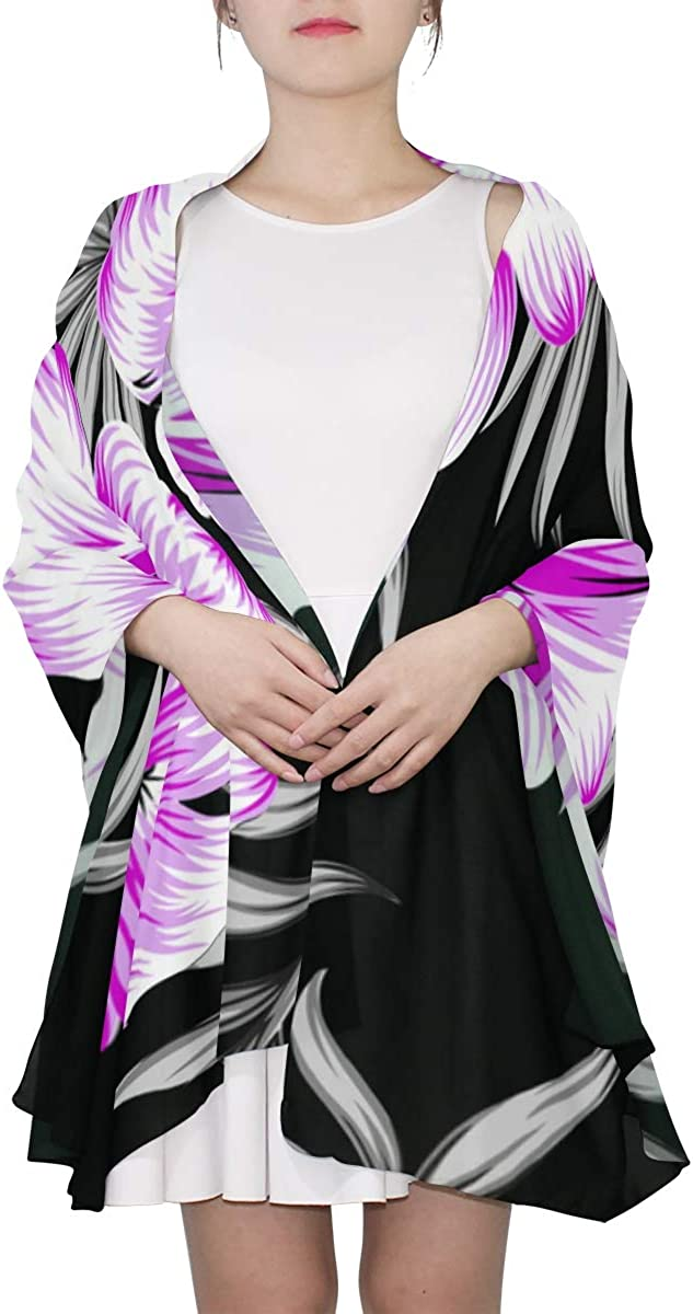 Hibiscus Flower Tropical Bouquet Unique Fashion Scarf For Women Lightweight Fashion Fall Winter Print Scarves Shawl Wraps Gifts For Early Spring