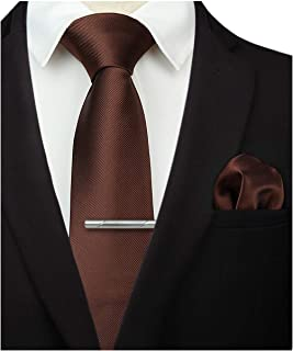 HISDERN Solid Color Tie and Pocket Square Necktie, Wedding Classic Tie Clip Set for Men-Multiple Colors