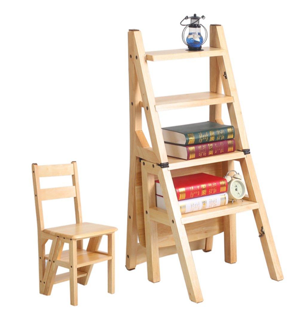 Taburete de escalada de madera maciza con 4 escalones, taburetes de madera maciza, doble uso, plegable,