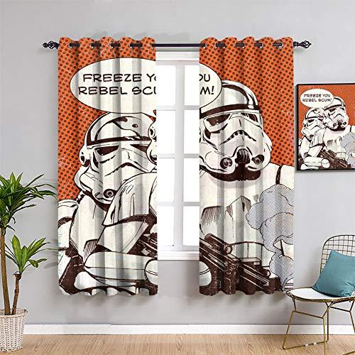 Star Wars Pop Art Freeze You Rebel Scum - Cortinas decorativas impermeables para habitaciones de los niños (55 x 63 pulgadas)