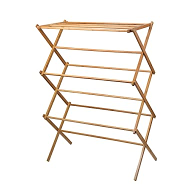 Home-it clothes drying rack - Bamboo Wooden clothes rack - heavy duty cloth drying stand