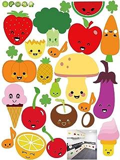 VORCOOL Pegatinas de Pared Extraíble Pegatinas de Pared de Frutas y Verduras de Dibujos Animados Fondos de Vinilo para Cocina de refrigerador 45 x 60CM