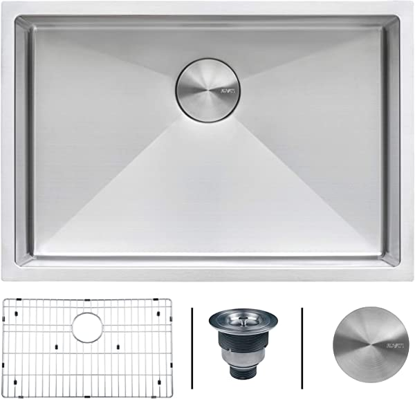 Ruvati 26 Inch Undermount 16 Gauge Tight Radius Stainless Steel Kitchen Sink Single Bowl RVH7126