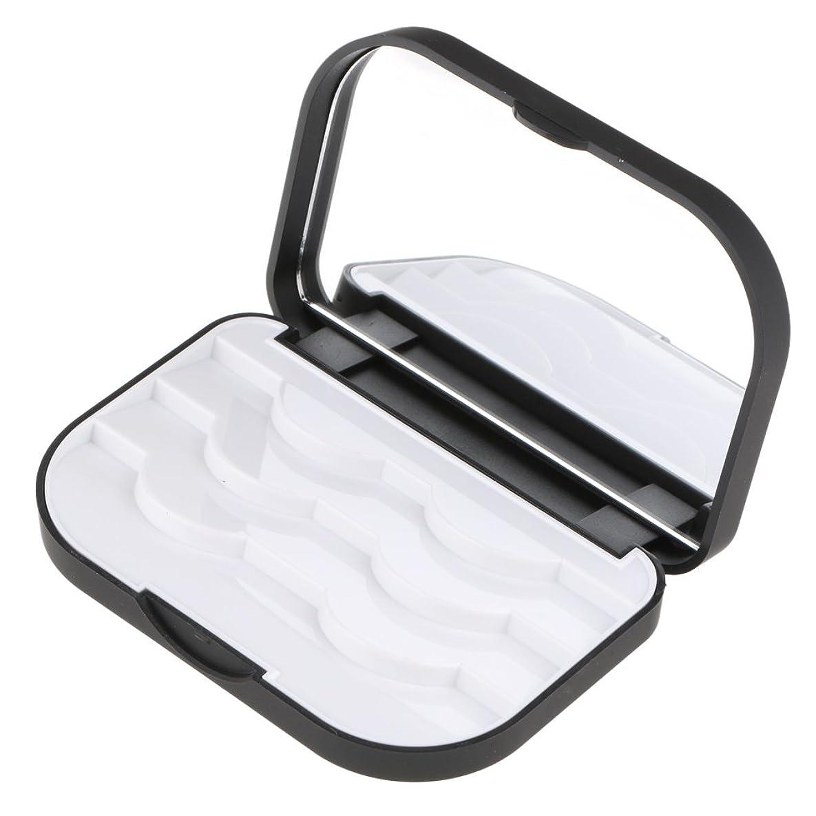 マトリックスフィード振る舞いFenteer メイクアップ収納ケース まつげ収納ケース 付けまつげ まつげ 収納ボックス メイクアップミラー 化粧鏡 ケース オーガナイザー 2色選べる - ブラック