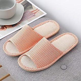 Slippers Women Floral Flax Linen Flip Flops Beach Shoes Sandals Casual Woman Non-slip Flats Female Flip Flop Simple casual slippers (Color : Orange, Shoe Size : 39)