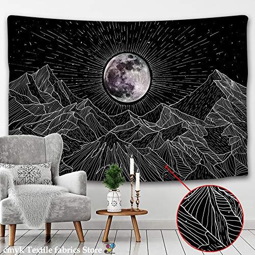 KHKJ Tapiz de Sol y Luna Blanco y Negro Cielo Estrellado Colgante de Pared astrología adivinación Estera brujería Mandala decoración A4 180x200cm