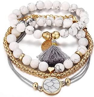 Multi-Layer Beads Disc Love Heart Bracelet Set Marble Ball Hollow Flower Tassels Charm Bracelet for Women Girls 4Pcs/Set