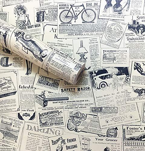 Amao Vintage Newspaper Decorative Paper Vinyl Self Adhesive Shelf Drawer Liner Home Decor 17.7''x79''