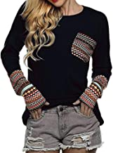 AOJIAN Women's Patchwork Casual Loose T-Shirts Blouse Tops with Thumb Holes