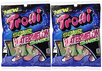 Trolli Sour Watermelon Sharks Gummy Candy 4.25 oz. (Pack of 2)