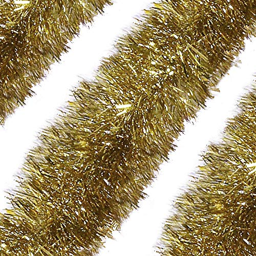 Alonsoo 3Pcs x 6.6ft Christmas Tinsel Garland, Christmas Tree Ornaments Home Party Classic Shiny Sparkly Ceiling Hanging Decorations,6 inch Wide Filaments Silver.