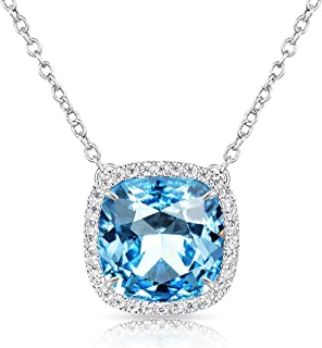 Birthstone Necklace Square Pendant Anniversary Jewelry Gifts for Women and Girls Crystal Comes from Swarovski