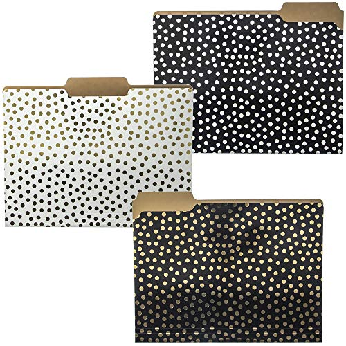 Graphique Designer Folder Set - Black, White, and Gold Polka Dots - Designer File Organizers for Office, Work, and School Supplies - Paper Document Decorative Accessories - Set of 9 Folders