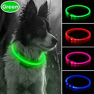 Illumifun LED Dog Collar, USB Rechargeable Light Up Collar, 360 Degree Glowing Pet Collar, Cuttable Flashing Collar One Size Fit All Your Small Medium Large Dogs