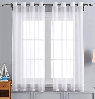 WPM White Sheer Window Curtain Panels for Bedroom, Kitchen, Kids Room- Solid Semi Voile Drapes Grommet Living Room Panels....