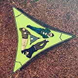 2021 Revolutionary Giant Aerial Camping Hammock - Multi Person Portable Hammock 3 Point with Adjustable Fixed Rope, Outdoor Triangle Hammock, Tree House Air Sky Tent, for Outdoor Garden Patio (Green)