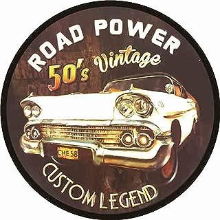 Easy Painter Vintage Car Signs Metal Vintage Road Power 50's Vintage Tin Sign for Garage, Man Cave, Bar, Home Decoration 11.8 inches