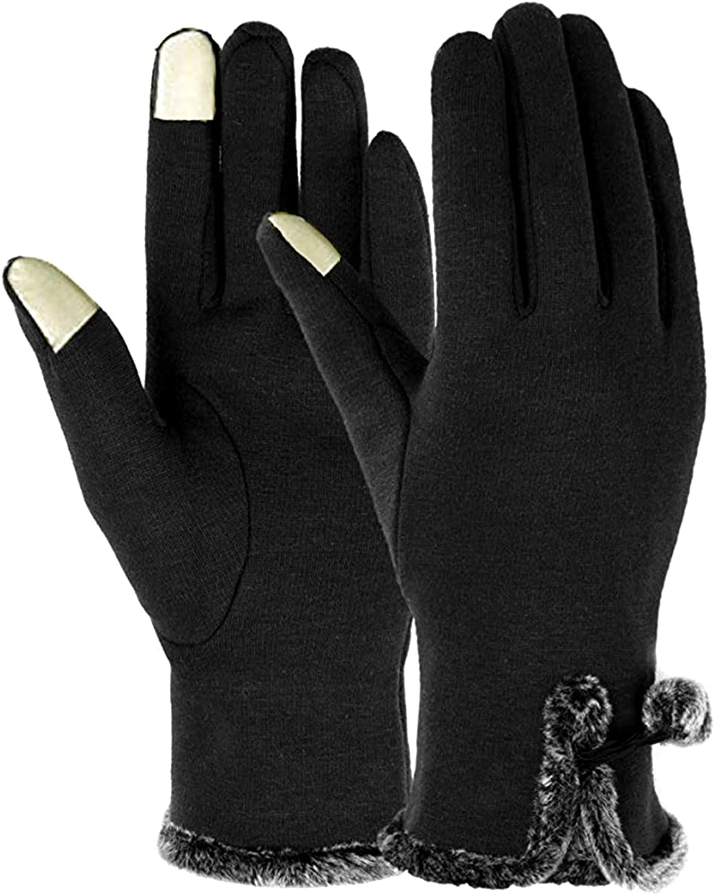 VANGETIMI Womens Winter Touch Screen Gloves Warm Fleece Lined Windproof Texting Gloves for Women Girls