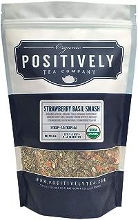 Positively Tea Company, Organic Strawberry Basil Smash, Green Tea, Loose Leaf, USDA Organic, 1 Pound Bag
