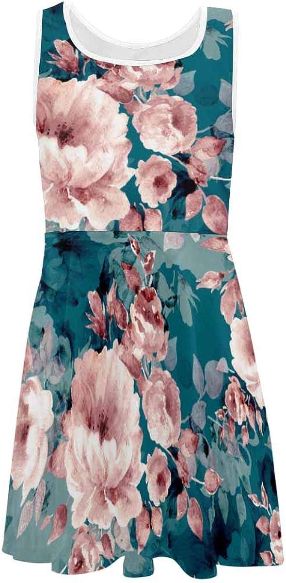 InterestPrint Girls Dress Summer Sleeveless Casual Party Dresses Pink Flower Pattern (2T-XL)