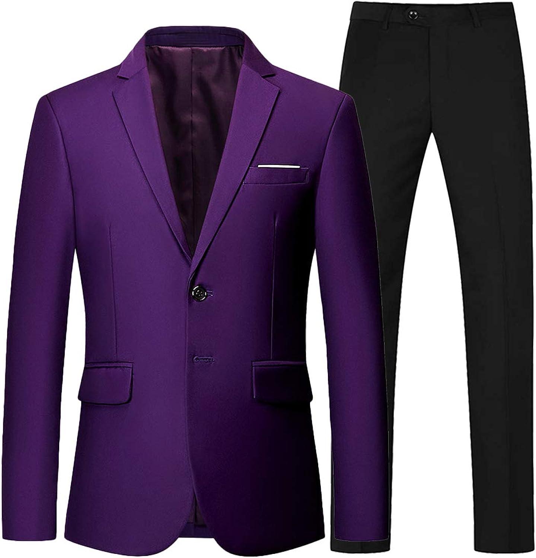 Wemaliyzd Men's Regular Fit 2 Piece Business Suit 2 Buttons Prom Dinner Suit Pants