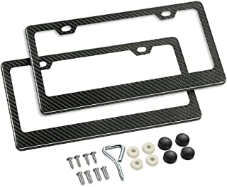 Karlor 100% Real Carbon Fiber License Plate Frame,2 Holes Black Licenses Plates Frames,Car Licence Plate Covers Holders Slim Design with Chrome Screw Caps Tool Kit for US Vehicles (2PCS)