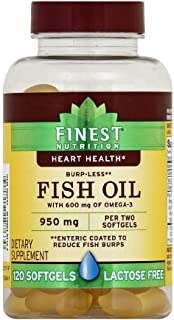 Finest Nutrition Burp-Less Fish Oil 950 mg with 600 mg of Omega-3 Per 2 Softgels - 120 Softgels