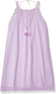 Amy Byer Girls' Sleeveless A-line Dress with Necklace