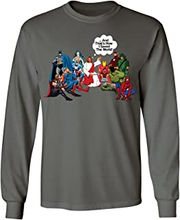 Jesus and Superheroes That's How I Saved The World Christian Funny Mens Long Sleeve T-Shirt