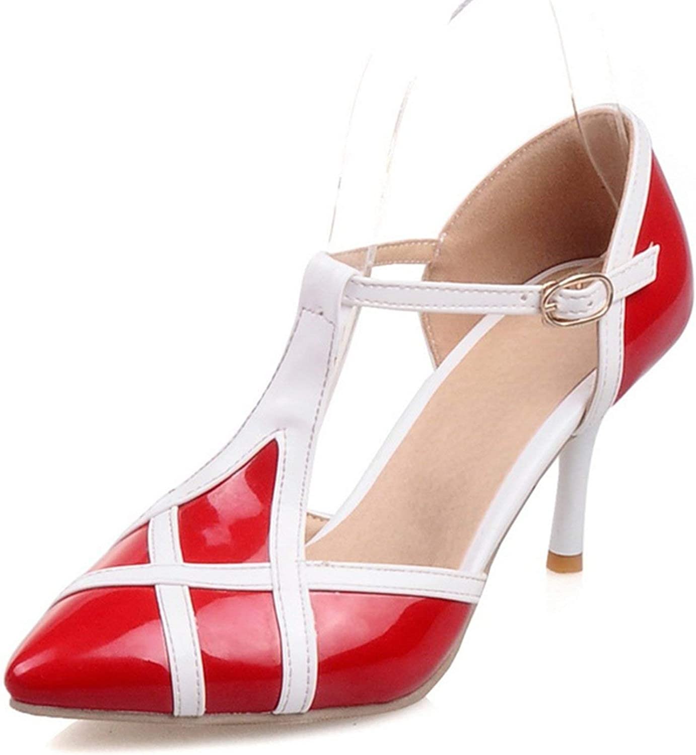 Houfeoans Summer Plus Size 30-48 Elegant Women T-Strap Sandals Patent Pu Pointed Toe shoes Woman High Heels