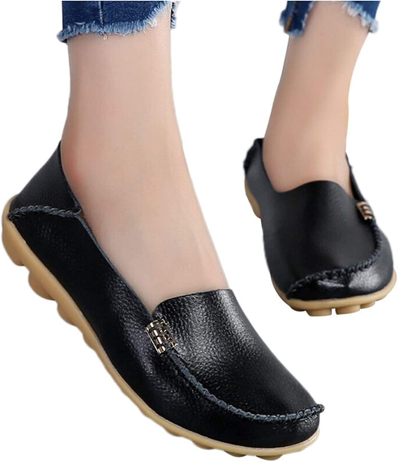 Women's Comfortable Leather Loafers Leisure Round Toe Moccasins
