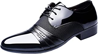 E Support Men's Patent Leather Tuxedo Dress Business Shoes Lace up Oxfords
